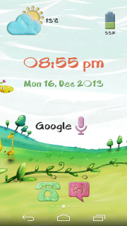3D Field Nature Clock Android Theme Mobile Theme