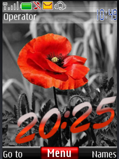 Red Flower Clock S40 Theme Mobile Theme