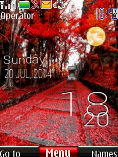 Autumn Nature Road Red Clock S40 Theme Mobile Theme