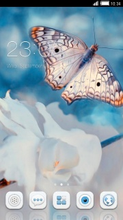 White Flower & Butterfly Apk Theme Mobile Theme