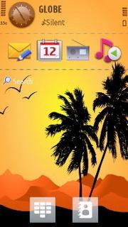 Palm Trees & Orange Sunset S60v5 Theme Mobile Theme