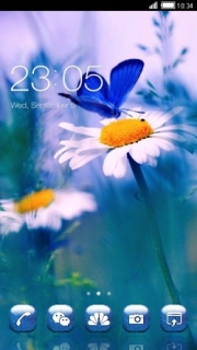 Whiite Flower Over Butterfly Android Theme Mobile Theme