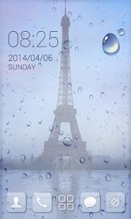 Paris Tower & Drops Screen Android Theme Mobile Theme