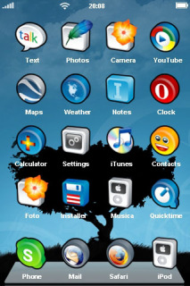 Black Tree & 3D ICons IPhone Theme Mobile Theme