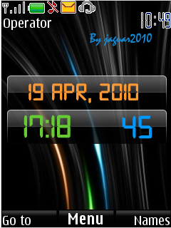 Black Digital Clock Mobile Theme