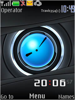 Carbon Blue Clock Mobile Theme