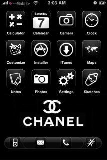 Black White Chanel Theme Apple IPhone Theme Mobile Theme