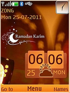 Ramadan Kareem Clock Mobile Theme