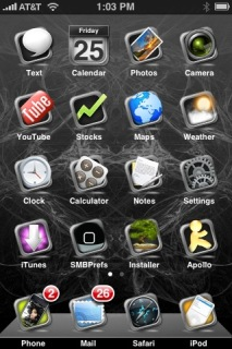 Framed Black Apple IPhone Theme Mobile Theme