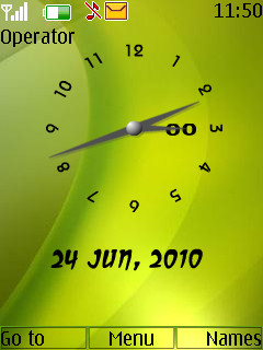 Green Analogue Clock Theme Mobile Theme