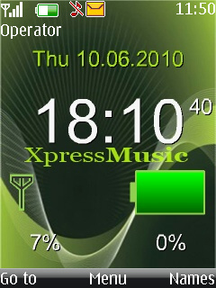 Xpress Music Clock  Mobile Theme
