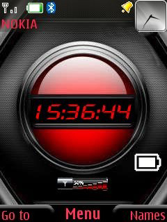 Red Battery Clock Mobile Theme