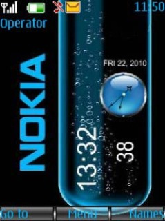 Blue Nokia Clock Mobile Theme