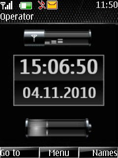 Black Pure Battery Clock Mobile Theme