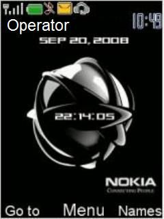 Nokia Black Clock Mobile Theme