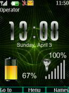 Matrix Battery Clock Mobile Theme