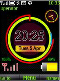 Neon Clock Battery S40 Theme Mobile Theme