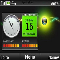 Windows Neon Clock Mobile Theme