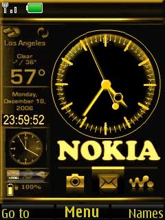 Golden Nokia Clock Mobile Theme