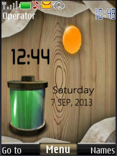 Battery Wood Clock S40 Theme Mobile Theme