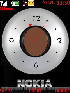 Nokia Silver Clock Mobile Theme
