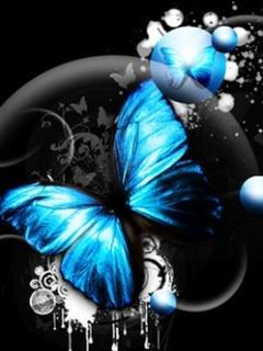 Blue Butterfly Mobile Wallpaper