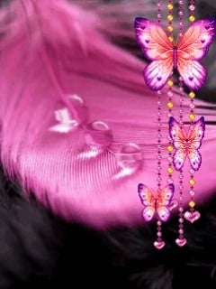 Pink Leaf Drop And Butterfly Mobile Wallpaper