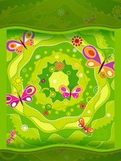 Green Abstract And Butterfly Mobile Wallpaper