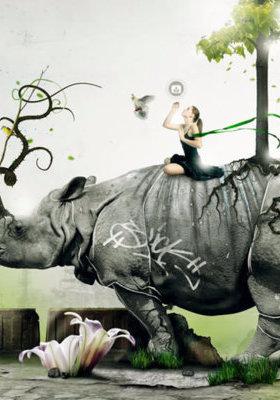 Rhino Girl Mobile Wallpaper