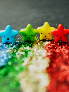 Smiley Colors Stars Mobile Wallpaper