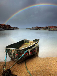 Boat And Rainbow Mobile Wallpaper