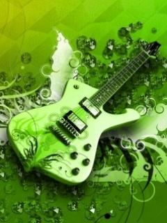 Green Guitar Mobile Wallpaper