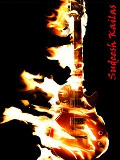 Guitar On Fire Mobile Wallpaper
