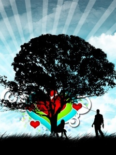 Love In Tree Mobile Wallpaper
