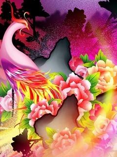 Colorful Peacoke Mobile Wallpaper
