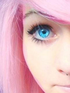 Pink N Blue Eye Mobile Wallpaper