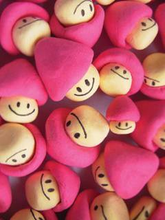 Pink Mushrooms Mobile Wallpaper