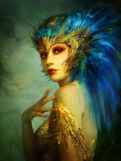 Beauty Peacock Girl Mobile Wallpaper