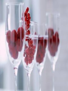 Glasses And Cherries Mobile Wallpaper