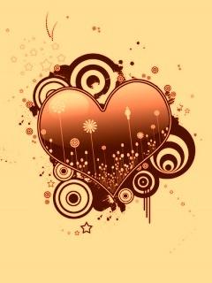 Gold Heart Mobile Wallpaper