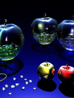 Metal Glass Apples Mobile Wallpaper
