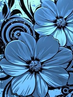 Blue Vector Flower Mobile Wallpaper