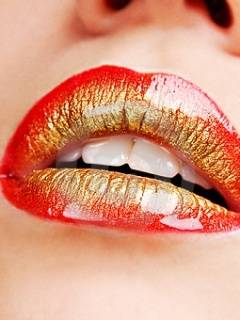 Red Golden Lips Mobile Wallpaper