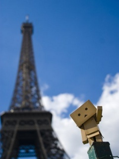 Danbo And Eiffel Mobile Wallpaper
