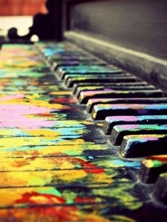 Colored Piano Mobile Wallpaper