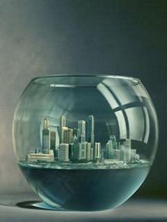 City In Aquarium Mobile Wallpaper