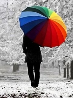 Colored Umbrella Mobile Wallpaper