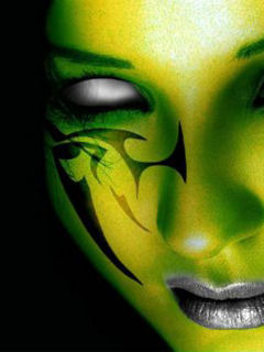 Green Face Tattoo Mobile Wallpaper