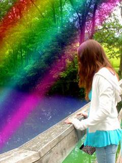 Rainbow And Girl Mobile Wallpaper