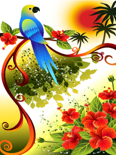 Parrot Flowers Mobile Wallpaper